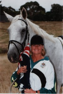 Gill Rolton and Fred with Australian Flag 1992