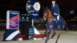 One happy lady! Australia's Edwina Tops-Alexander celebrating victory with her lovely mare, California, in today's seventh leg of the Longines FEI World Cup™ Jumping 2017/2018 Western European League series in La Coruna, Spain. (FEI/Manuel Queimadelos)