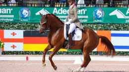 Heather Blitz's Praestemarkens Quatero impresses to finish the week with his third win, in the Intermediate I Freestyle with 73.6%. - Adequan Global Dressage Festival