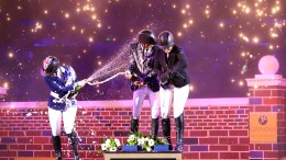 Puissance celebrations for the top three Holly Smith, Louise Saywell and Ireland's Christopher Megahey