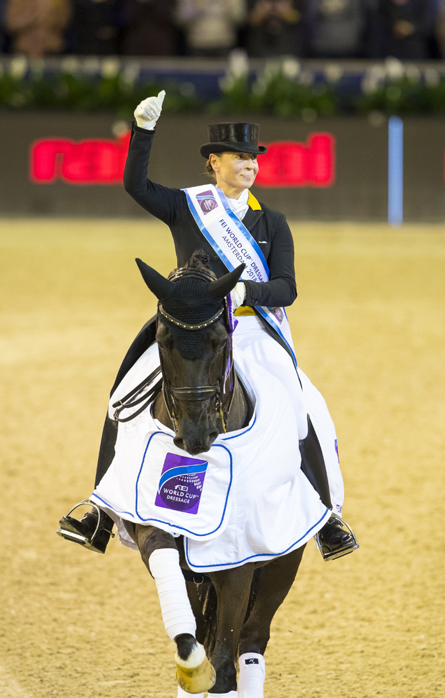 Yes, we did it again! The 2017 champions, Germany's Isabell Werth and Weihegold, were in a league of their own when winning today's sixth leg of the FEI World Cup™ Dressage 2017/2018 Western European League in Amsterdam (NED). (FEI/Digishots)
