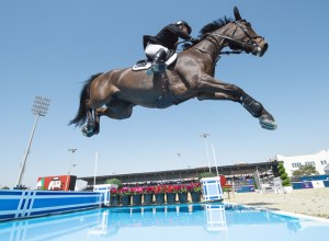 Jumping sky high! Daniel Meech and his mare, Fine, put in a great performance to help Team New Zealand to a superb victory in the Longines FEI Jumping Nations Cup™ of United Arab Emirates 2018 in Abu Dhabi today. (FEI/Martin Dokoupil)