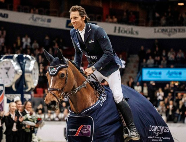 Sweden's Henrik von Eckermann shot to the top of the Western European League after once again winning the last qualifying leg on home ground in Gothenburg on the way to the Longines FEI World Cup™ Jumping 2018 Final in Paris (FRA) which takes place 10 to 15 April. (FEI/Lotta Brundin Gyllensten)