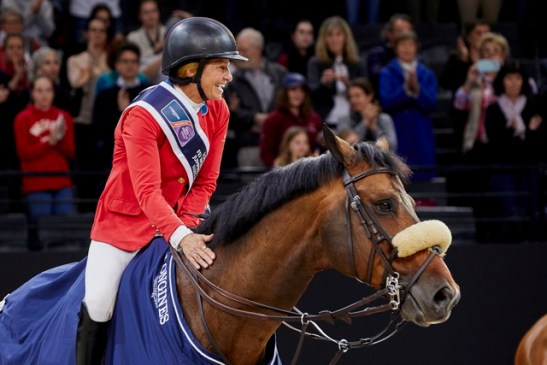 America's Beezie Madden and Breitling LS took their second win of the week to go into Sunday's title-decider with a one-fence advantage at the Longines FEI World Cup™ Jumping Final 2018 in Paris (FRA). (FEI/Liz Gregg)