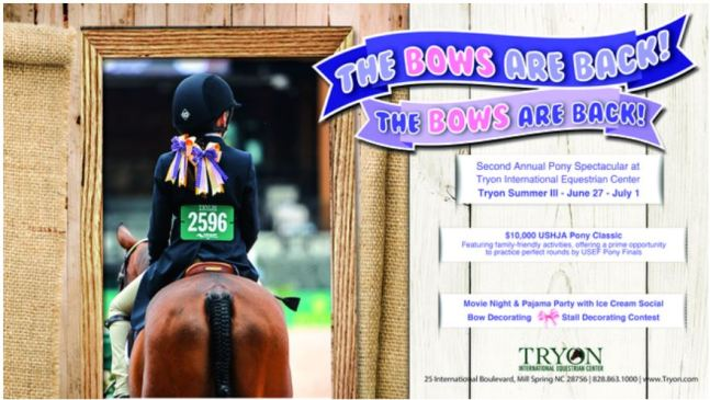 The Tryon International Equestrian Center (TIEC) Summer Series is excited to present the return of the second annual Pony Spectacular