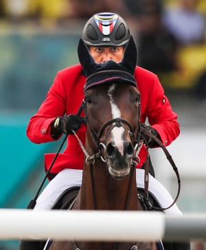 Full concentration from The Amazing Asian! Malaysia's Qabil Ambak Dato' Mahamad Fathil is some horseman, taking individual silver with Rosenstolz in Dressage before finishing 13th individually with 3Q Qalisya in Jumping at the Asian Games 2018 in Jakarta - Palembang, Indonesia yesterday. (FEI/Yong Teck Lim)