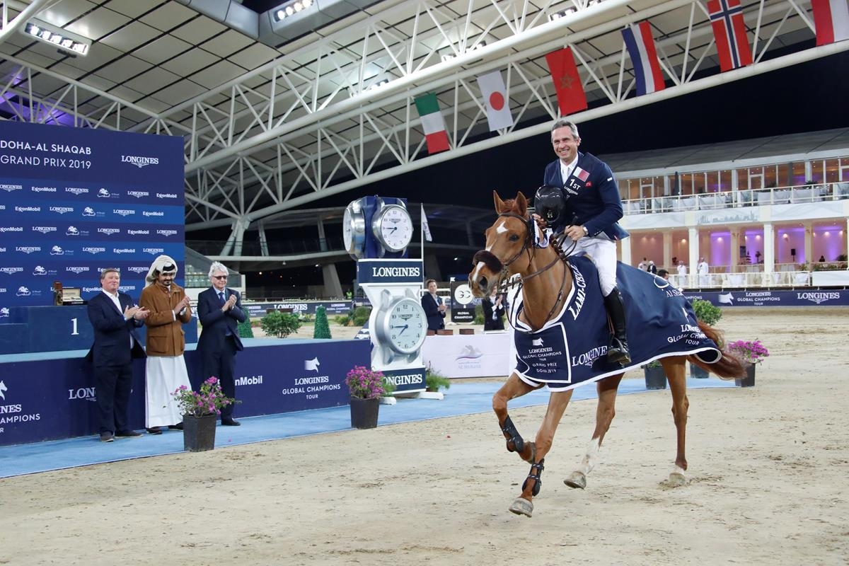 Julien Epaillard and Usual Suspect D'Auge triumphed in the first Longines Global Champions Tour Grand Prix of 2019 with a masterful galloping victory in Doha.