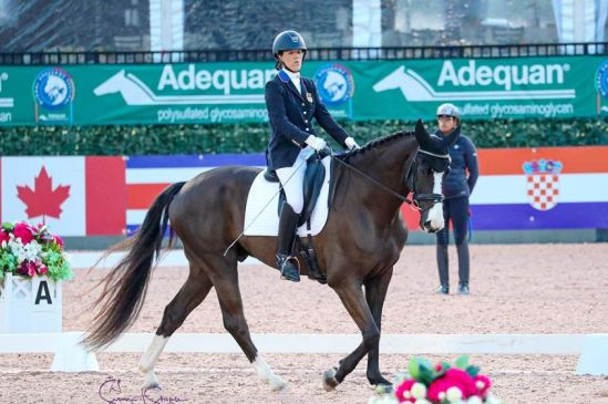 Roxanne Trunnell (USA) pilots Flintwood Farm LLC's Dolton to receive a score of 77.738%, the highest average score of the day. ©SusanJStickle