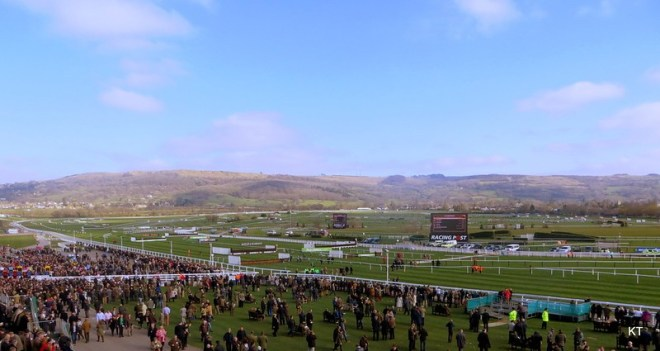 Cheltenham Racecourse view from above. Nicky Henderson post for 2020