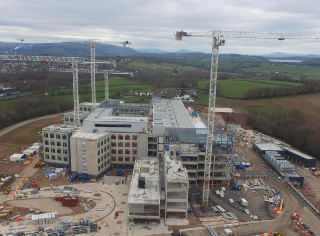 FEATURED IMAGE: Wales Super Hospital. Hi-Vis specialist, Equisafety strive to provide builders of the hospital with hand santizer.