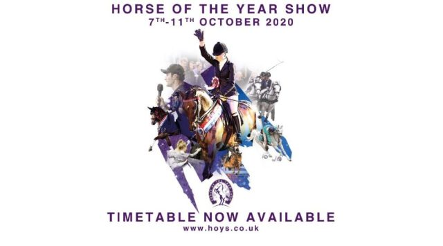 Horse of the Year Show 2020 Timetable graphic