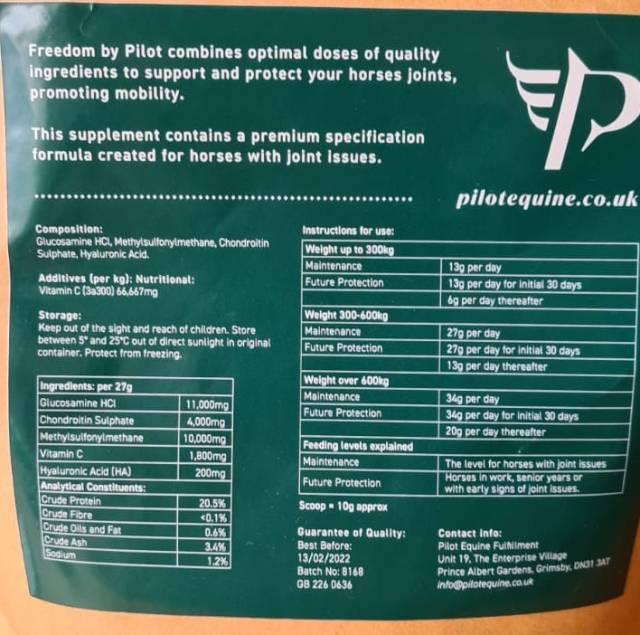 Pilot Freedom full ingredients