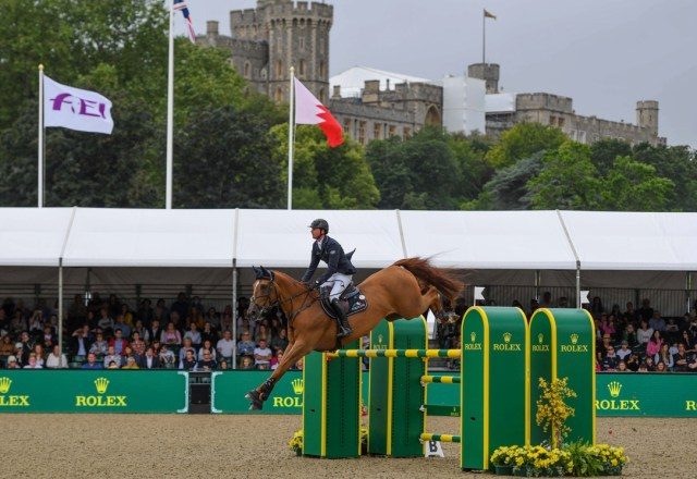 Ben Maher riding Explosion X to win the Royal Windsor Horse Show Rolex Grand Prix