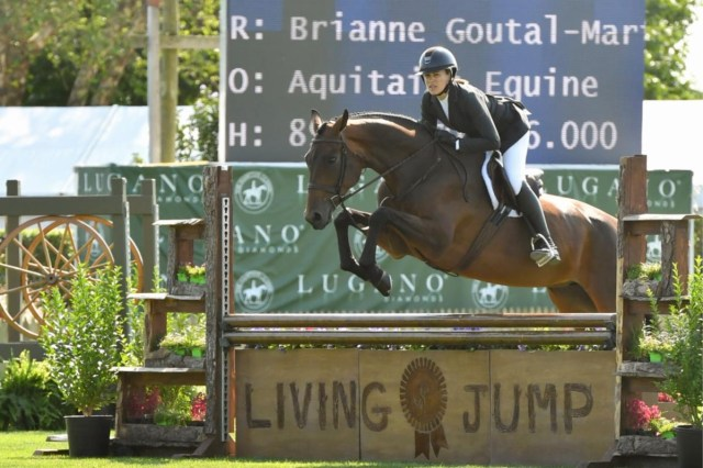 """Brianne Goutal-Marteau riding Arabesque over Green is the New Blue's """"Living Jump"""" sourced through Marders with the assistance of Bridgehampton Florist © Kind Media"""