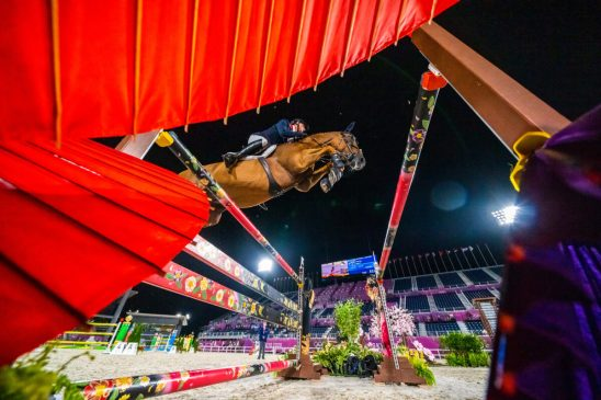 Ben Maher and Explosion W at Tokyo 2020's Individual Qualifier (FEI/Arnd Bronkhorst)