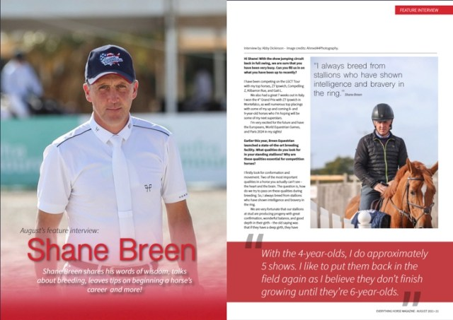 Shane Breen Interview shot from Everything Horse magazine August 2021
