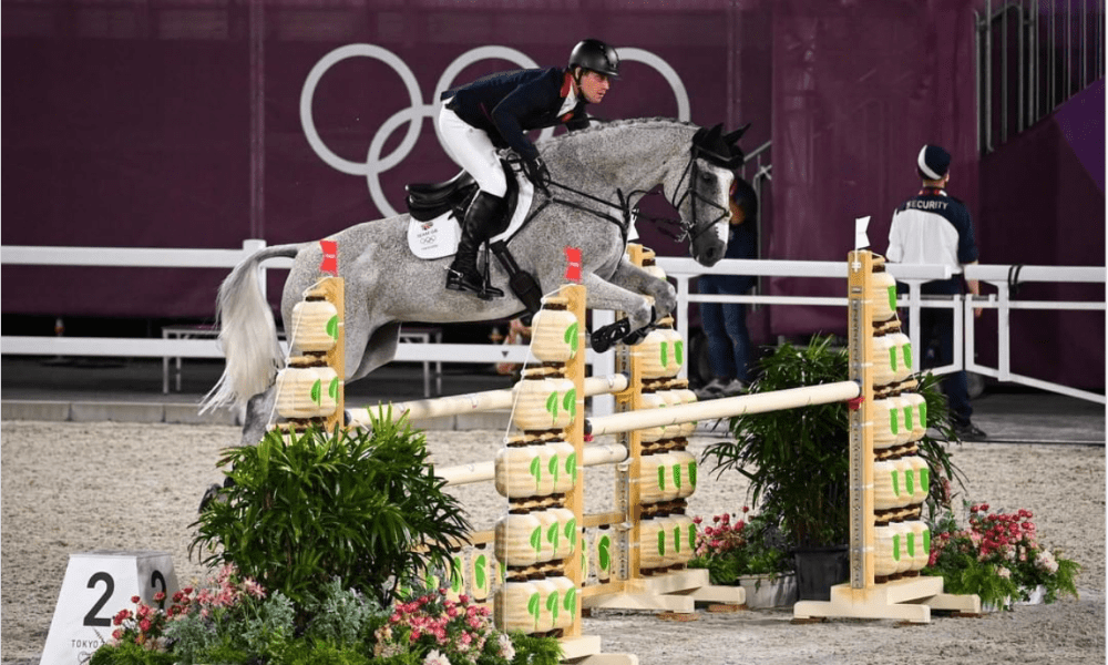 Oliver Townend with Ballaghmor Class in the Tokyo 2020 Eventing Showjumping Team Phase (British Equestrian/Jon Stroud)