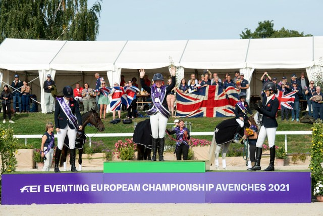 Individual Podium Team GB Celebrates victory during prize giving ceremony. ( L to R) Piggy MARCH, Nicola WILSON and Sarah BULLIMORE.   Photo Copyright © FEI/Richard Juilliart