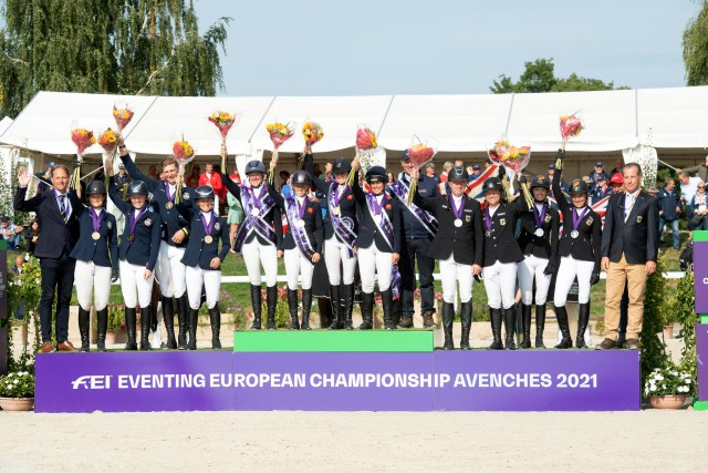 EUROPEAN EVENTING CHAMPIONSHIP - AVENCHES 2021. Team Podium Team GB 1st Place, Second team Germany and third place for team Sweden .   Photo Copyright © FEI/Richard Juilliart