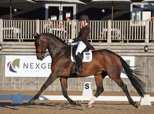 Becky Moody and Jagerbomb, winners of the NEXGEN seven-year-old championship at Hickstead, 2021
