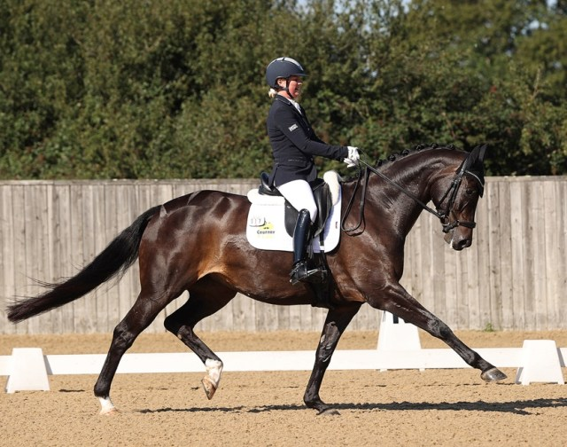 Sadie Smith and Swanmore Dantina winners of the NEXGEN six-year-old dressage, Hickstead 2021