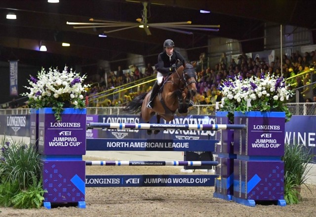 Conor Swail (IRL) and Vital Chance de la Roque winners of the Longines FEI Jumping World Cup™ Sacramento (USA) on Saturday, 9 October 2021. (FEI/Julia B Photography)