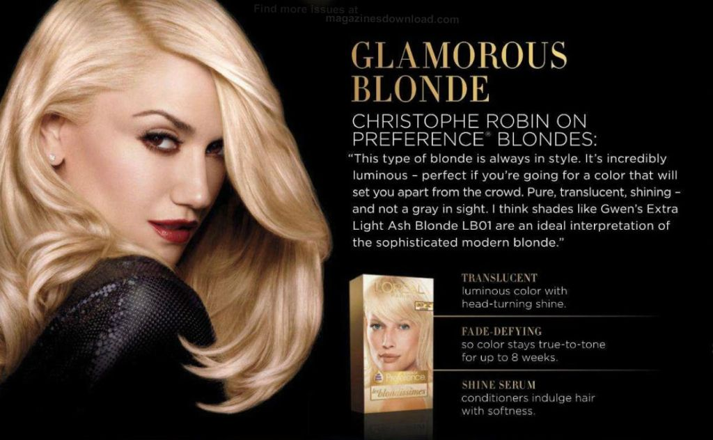 NEW Gwen Print Ad for L'Oreal Superior Preference Hair ...