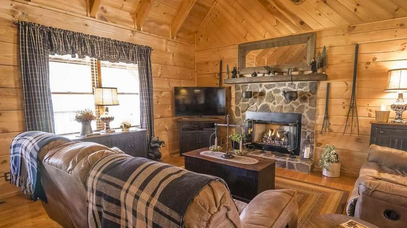 window treatments in a log or timber