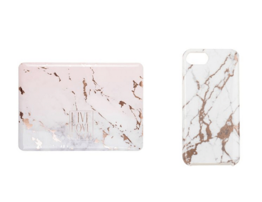 Maisons du Monde marbled phone cover and macbook cover