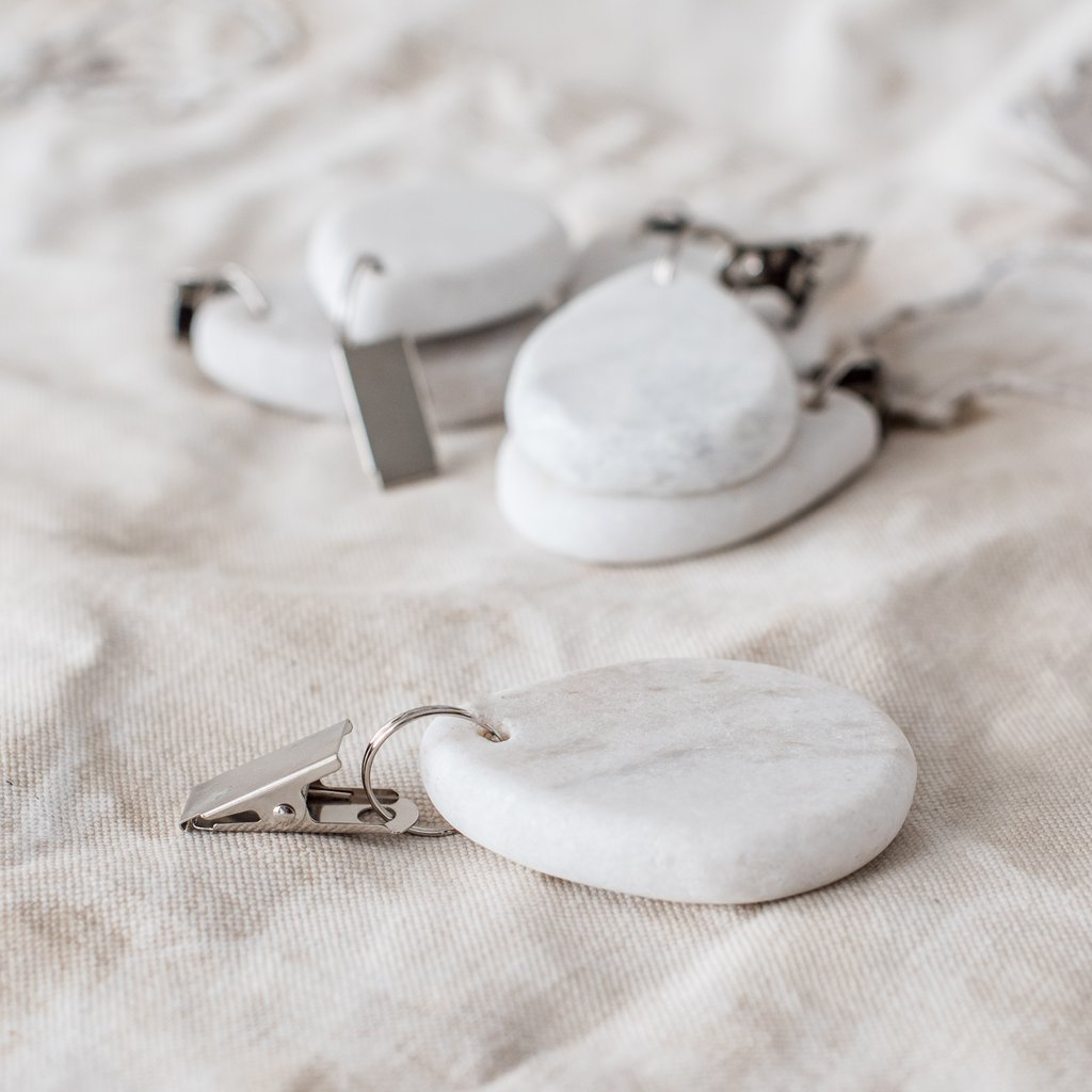 Real marble tablecloth weights by The Lost And Found Department