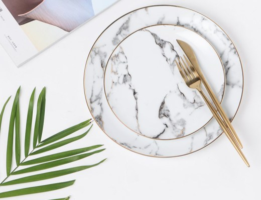 Marble Effect Ceramic Salad Plates by Ly-Land
