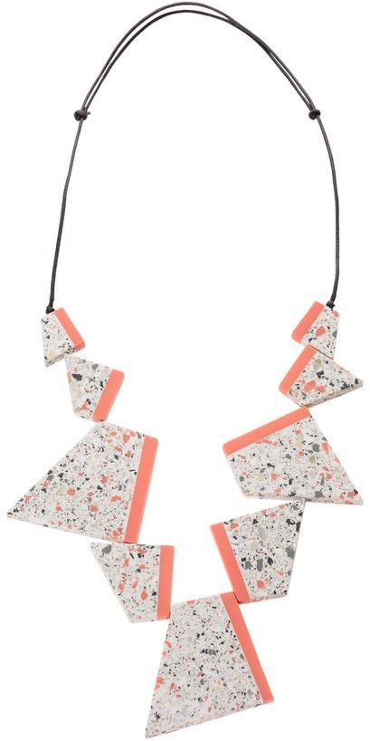 Terrazzo beads + coral trapezoid necklace by Oliver Bonas