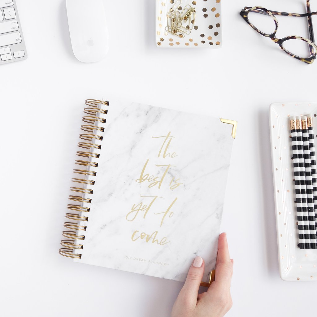 2019 Dream Planner - white Carrara marble by Horacio Printing