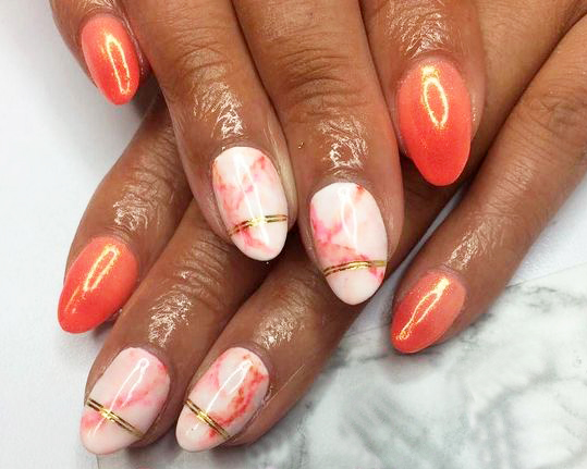 Coral and coral marble nails by NAF! salon (source @nafsalon Instagram)v