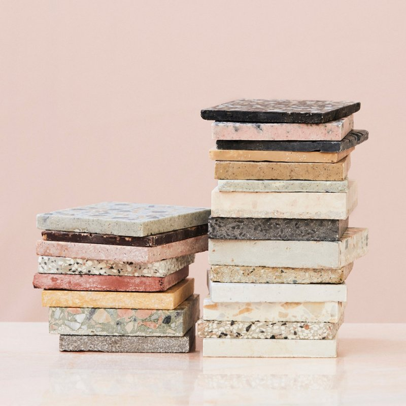 BRIK terrazzo chocolate tiles by KUFstudios