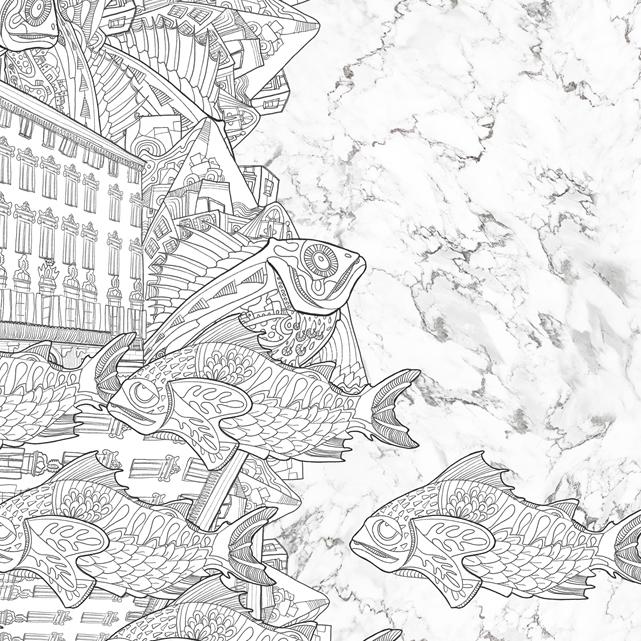 Emerged Garderns Collection - Arabescato marble silk scarf by Artistante