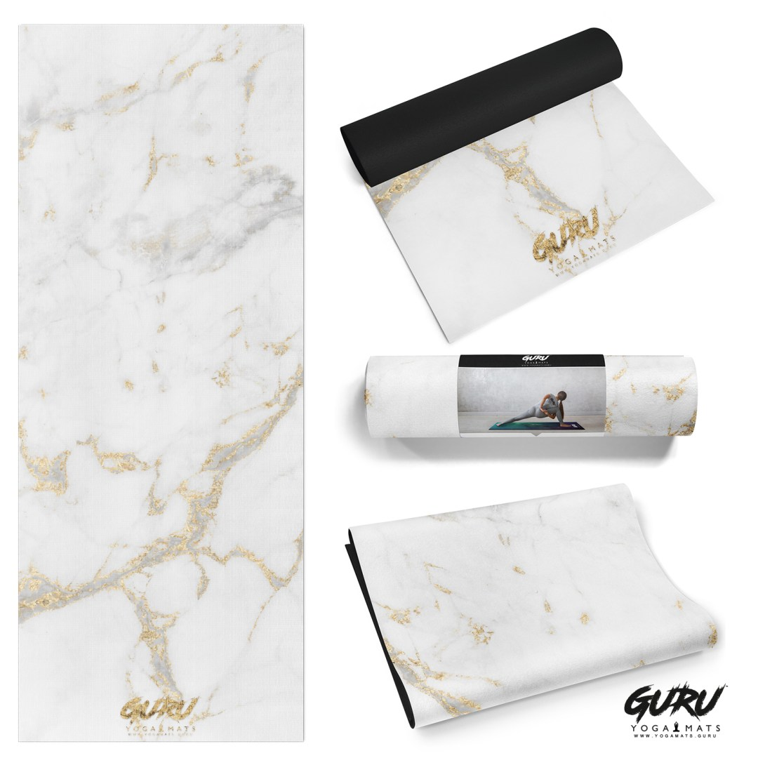 'sculpt' white and gold marble yoga mat by Guru Yoga Mats (UK)