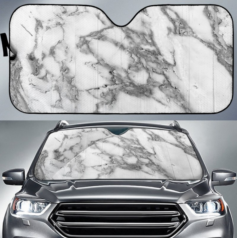 Carrara marble print car sun shade - by Gearfrost