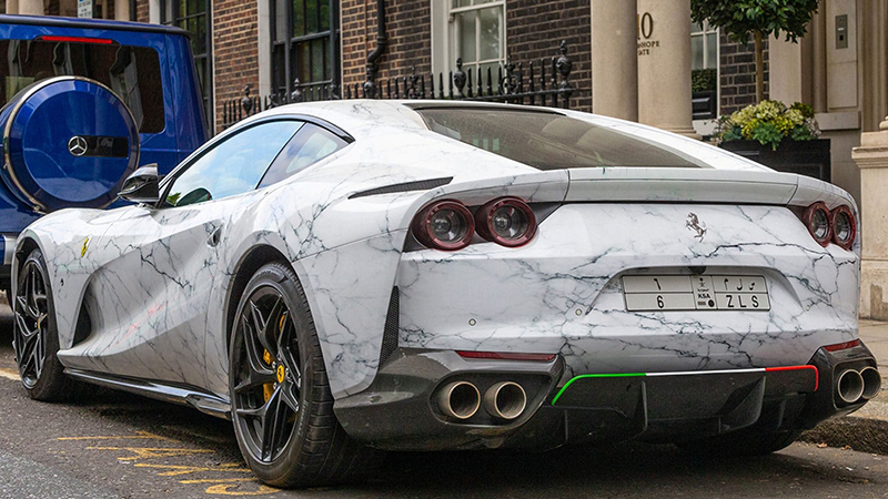 Ferrari 812 Superfast in Carrara marble wrap