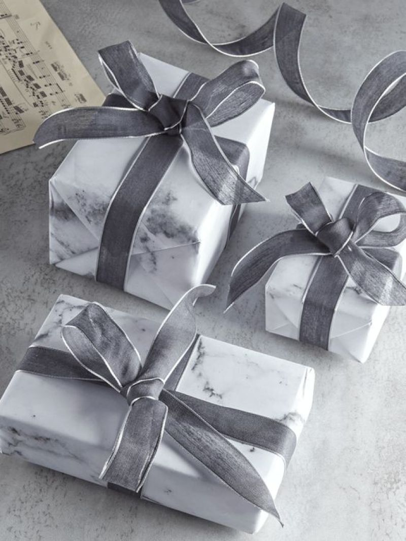 Cox and Cox ribbons and Carrara marble effect wrapping paper - Xmas gift wrapping