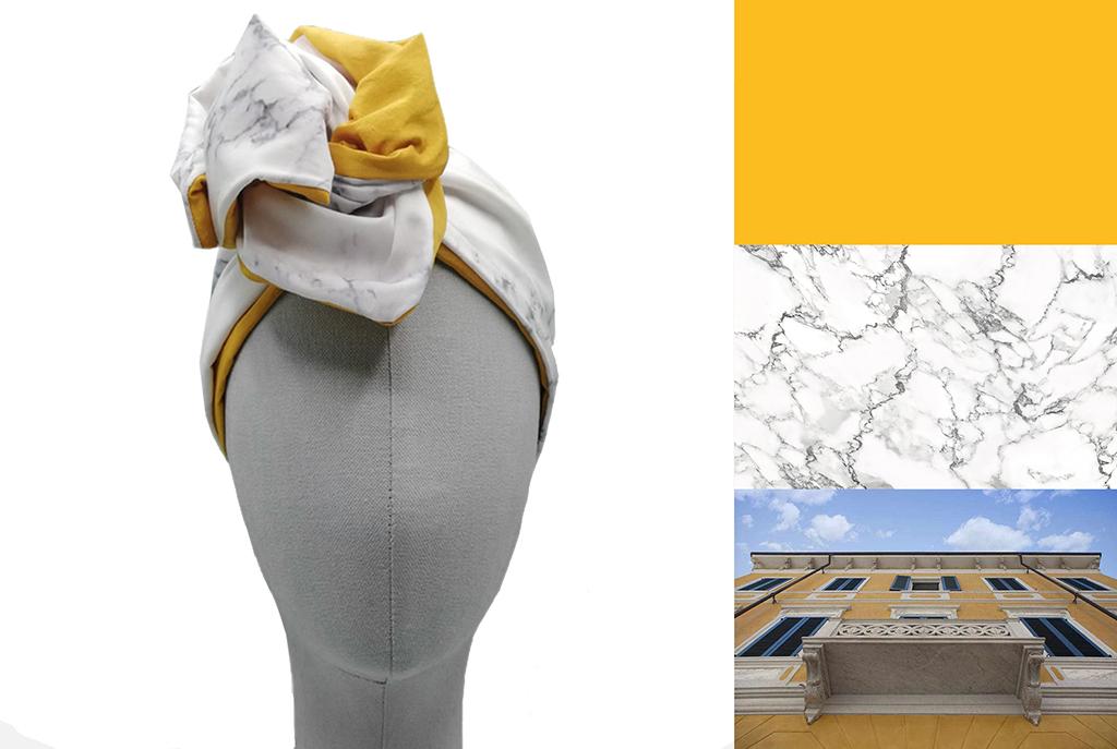 Turbante di marmo arabescato Carrara di EVERYTHING MARBLE e L'ughetta