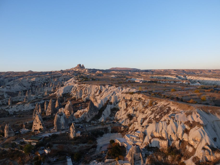 Uchisar - looming ahead - is the highest point in Cappadocia.