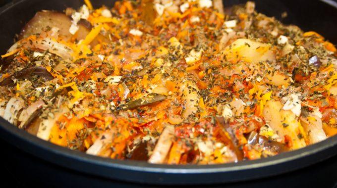 Ratatouille, hot vegetable stew in frying pan