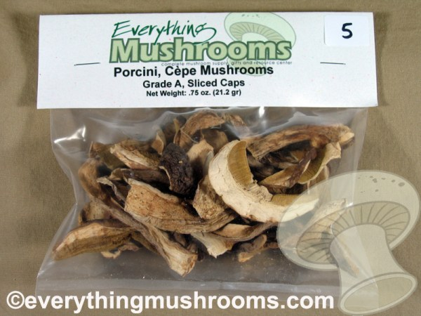 Porcini Mushrooms, Cepe, Boletus edulis, Grade A Sliced Caps - .75oz pack