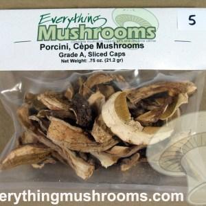 Porcini Mushrooms, Cepe, Boletus edulis, Grade A Sliced Caps - .75oz pack