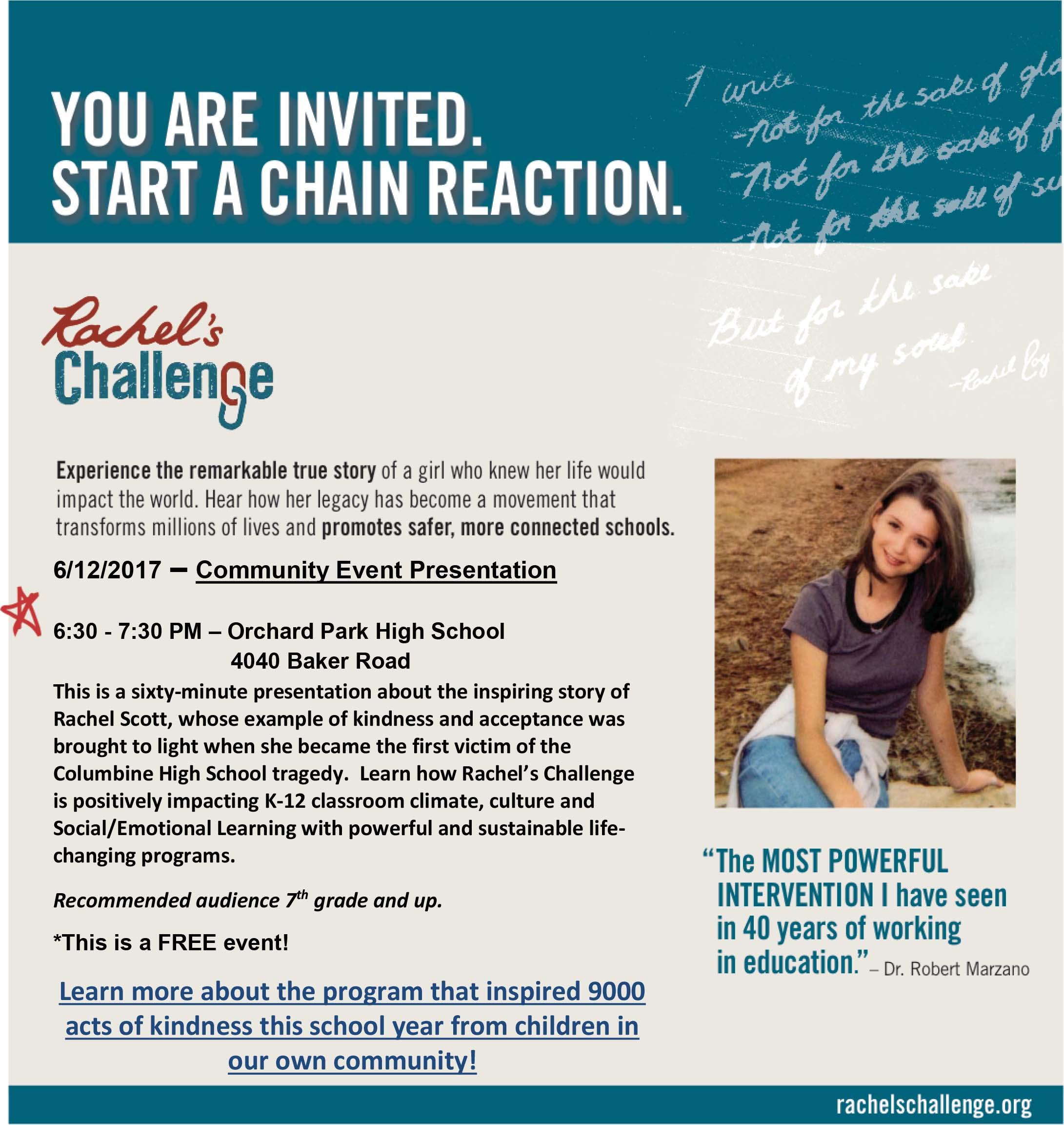 Rachel S Challenge Community Event