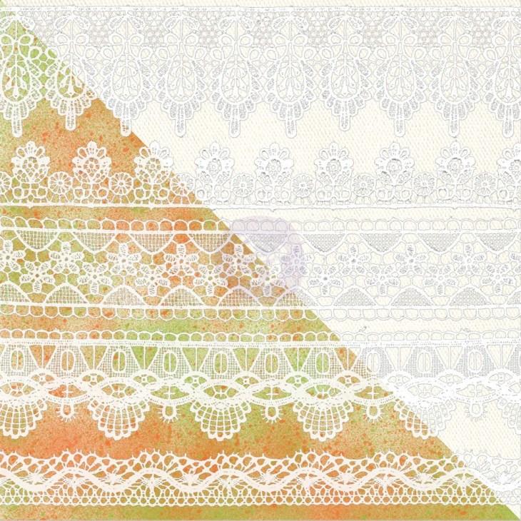 Prima 12x12 White Resist Pattern - Lace Patterns
