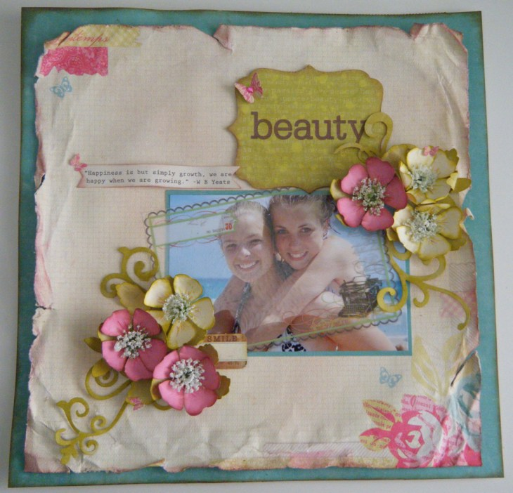 Melinda's flowers featured on a scrapbook page