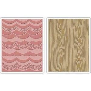 Tim Holtz Embossing Folders Drapery & Woodgrain