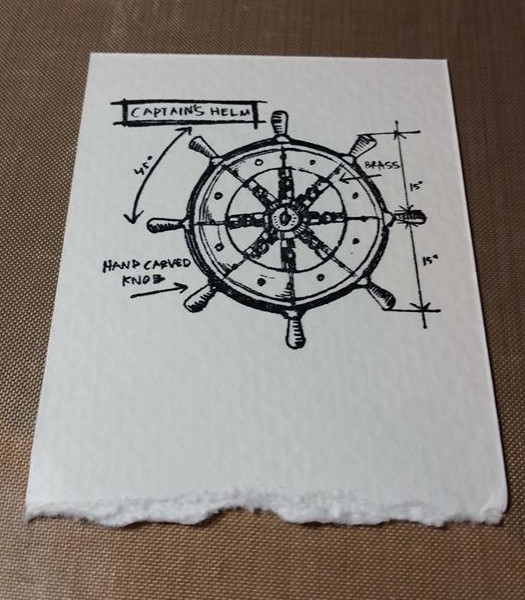 Mariner stamp on Watercolor Paper with Archival Ink